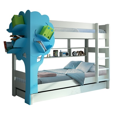 Mathy By Bols Dominique Triple Bunk Bed With Tree Bookcase