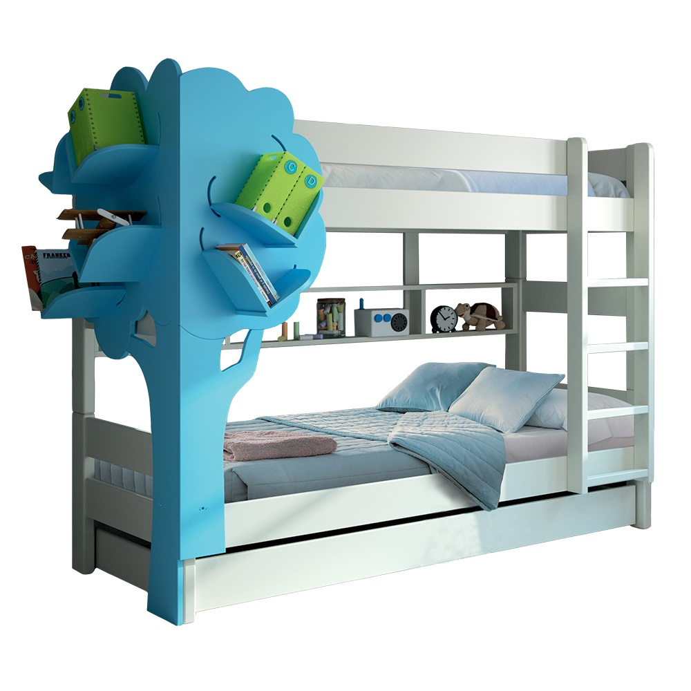 Dominique Tree Bookcase Bed Mathy Blue for web. Kids Triple Bunk Bed with Tree Bookcase in White   Blue   Cuckooland