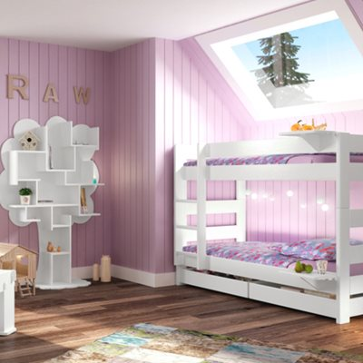KIDS 2 TIER BUNK BED with Trundle in Dominique Design