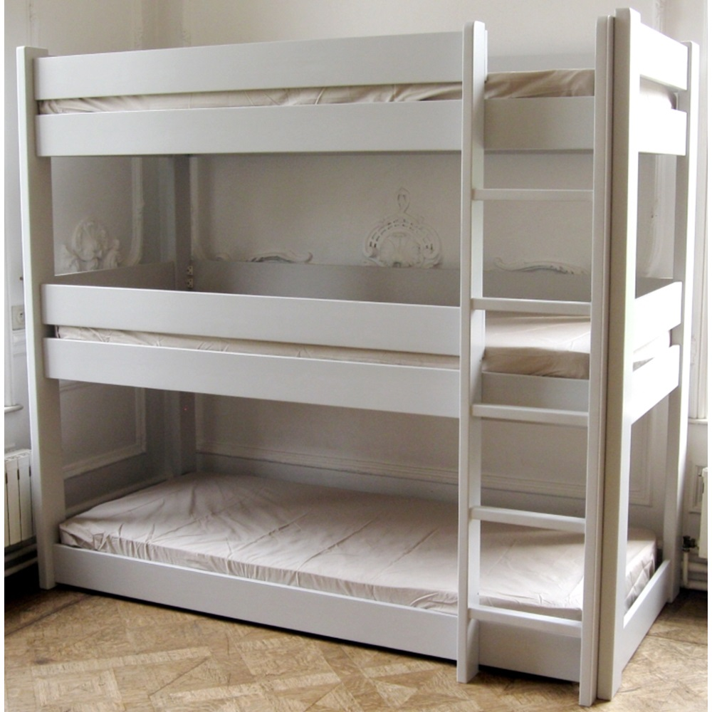 Kids triple bunk bed in dominique design kids beds cuckooland - Lit superpose 3 places ...