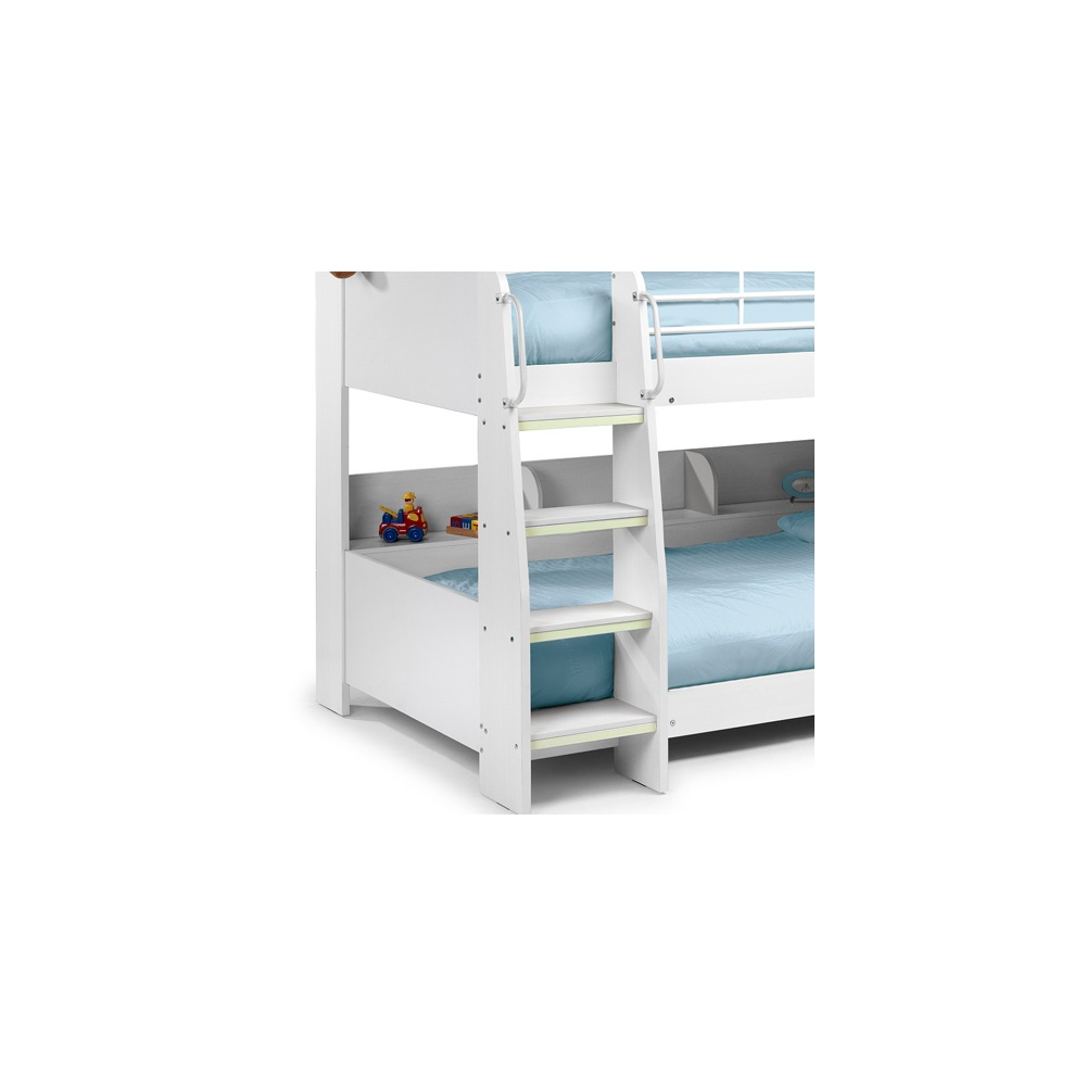 Domino Kids Bunk Bed With Shelf In White Finish By Julian