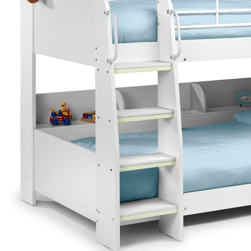 domino kids bunk bed with shelf in white finish ebay. Black Bedroom Furniture Sets. Home Design Ideas
