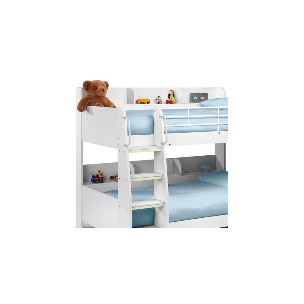 Domino Kids Bunk Bed With Shelf In White Finish By Julian Bowen Julian Bowen