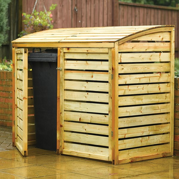 Rowlinson Outdoor Double Wheelie Bin Storage in Natural Timber