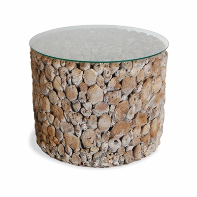 DRIFTWOOD ROUND DRUM LAMP TABLE