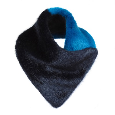 HELEN MOORE FAUX FUR DUO SCARF in Midnight / Kingfisher
