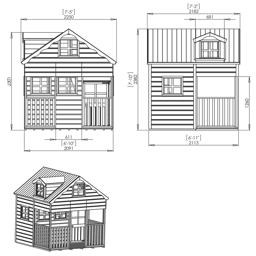 Mercia kids wooden playhouse with dorma window kids for Free playhouse plans