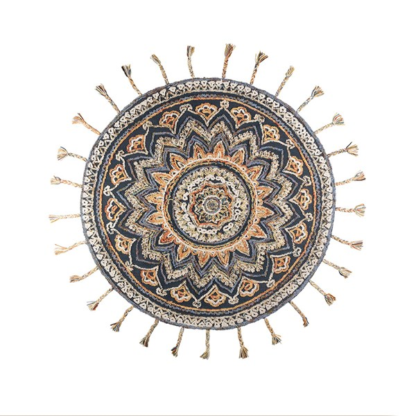 Dutchbone Round Pix Rug with Tassels