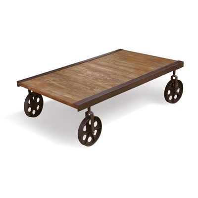 RUSTIC CART COFFEE TABLE ON WHEELS in Re-engineered Design