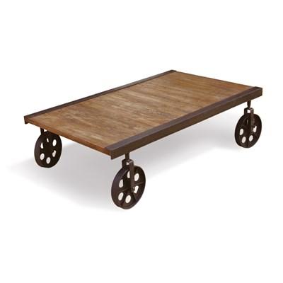 ENG009 Rustic Coffee Table Wheels Vintage Furniture ...