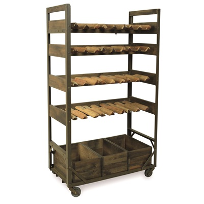 WINE RACK WITH BOX STORAGE in Re-engineered Design