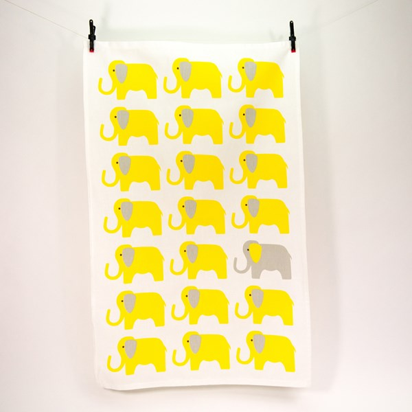 Tea Towel in Yellow Elephant Design