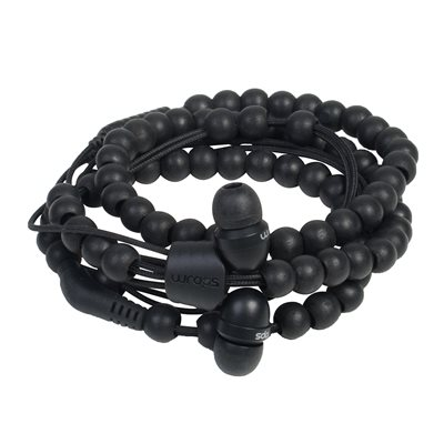 WRAPS WOODEN BEAD WRISTBAND HEADPHONES WITH MICROPHONE in Black
