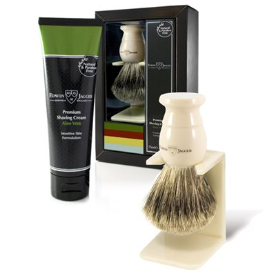 EDWIN JAGGER MEN'S SHAVING BRUSH & CREAM SET