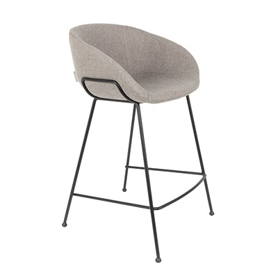 Zuiver Pair of Feston Upholstered Counter Stools in Grey