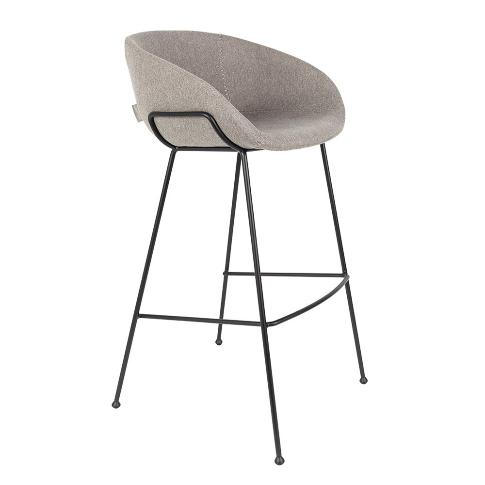 Zuiver Pair Of Feston Upholstered Bar Stools In Brown Pu