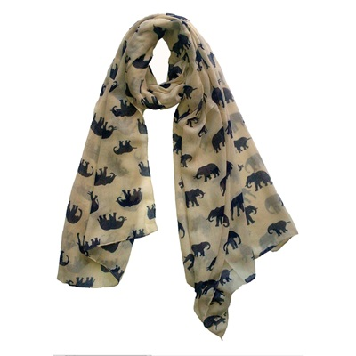 ELEPHANT PRINT SCARF NAVY & CREAM By Scarlett Black