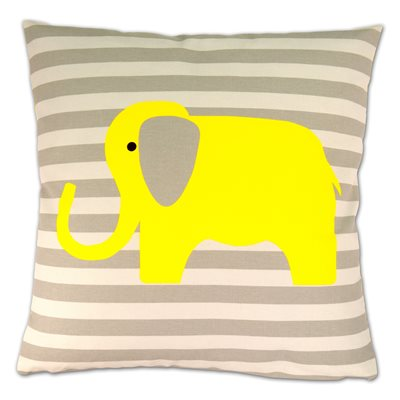 LUXURY CUSHION in Yellow Elephant Design