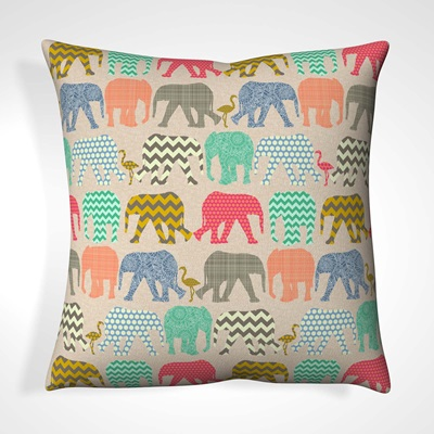 CUSHION in Patterned Elephant Design