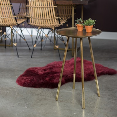 ELIOT SIDE TABLE with Dip-Dyed Brass Feet