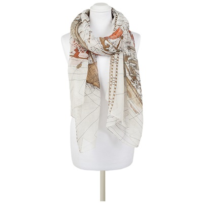 ELOSIA Map Scarf in Natural
