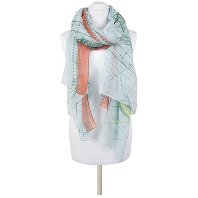 ELOSIA Map Scarf in Aqua