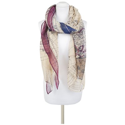 ELOSIA Map Scarf in Violet