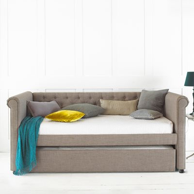 EMILY UPHOLSTERED DAY BED WITH TRUNDLE DRAWER