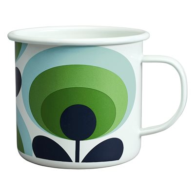 ORLA KIELY ENAMEL MUG in 70s Oval Flower Green Apple Print