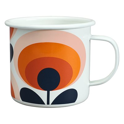 ORLA KIELY ENAMEL MUG in 70s Oval Flower Persimmon Orange Print