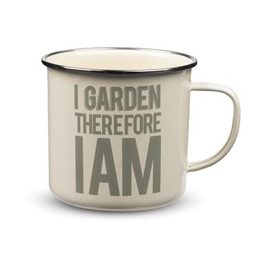 NOVELTY ENAMEL MUG I Garden Therefore I Am