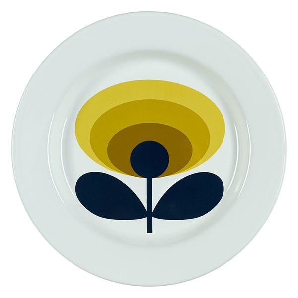 Orla Kiely Enamel Plate in 70s Oval Flower Dandelion Yellow Print