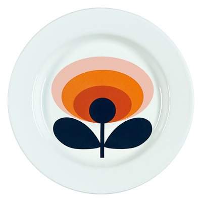 ORLA KIELY ENAMEL PLATE in 70s Oval Flower Persimmon Orange Print