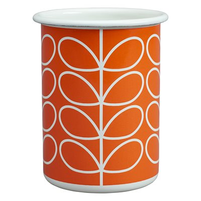 ORLA KIELY ENAMEL TUMBLER in Linear Stem Persimmon Orange Print