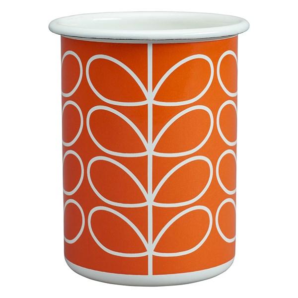 Orla Kiely Enamel Tumbler in Linear Stem Persimmon Orange Print