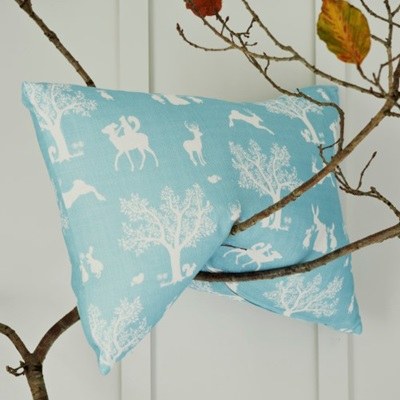ENCHANTED WOOD FABRIC in Duck Egg Blue / White Metre Length