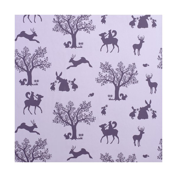 Kids wallpaper in lilac enchanted garden design
