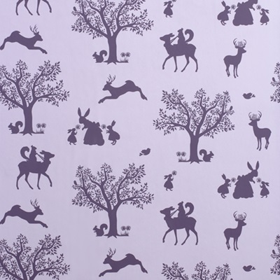 GIRLS WALLPAPER in Lilac Enchanted Wood Design