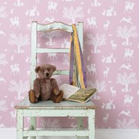 GIRLS WALLPAPER In Peony Pink Enchanted Wood Design