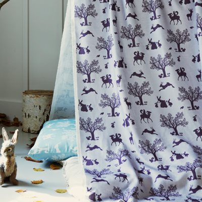ENCHANTED WOOD FABRIC in Lilac / Aubergine Metre Length