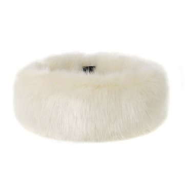 FAUX FUR HEADBAND HUFF in Ermine