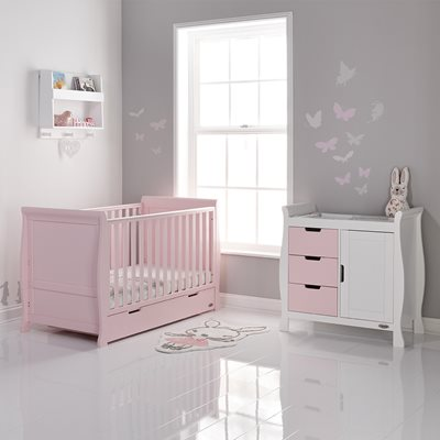 STAMFORD COT BED 2 PIECE NURSERY SET in Eton Mess by Obaby