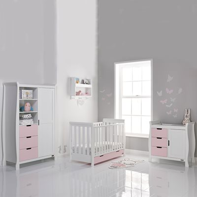 STAMFORD MINI COT BED 3 PIECE NURSERY SET in Eton Mess and White by Obaby