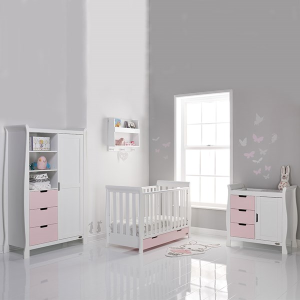 Stamford Mini Cot Bed 3 Piece Nursery Room Set in Eton Mess and White