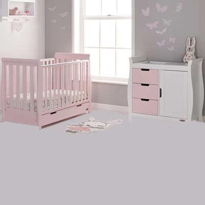 STAMFORD MINI COT BED 2 PIECE NURSERY SET in Eton Mess by Obaby