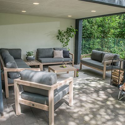 EVORA TEAK GARDEN CORNER SOFA by 4 Seasons Outdoor