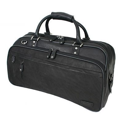 EXPLORER LEATHER HOLDALL TRAVEL BAG In Black by Adventure Avenue