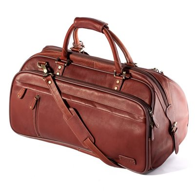 EXPLORER LEATHER HOLDALL TRAVEL BAG In Cognac by Adventure Avenue