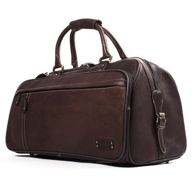 EXPLORER LEATHER HOLDALL TRAVEL BAG In Dark Brown by Adventure Avenue