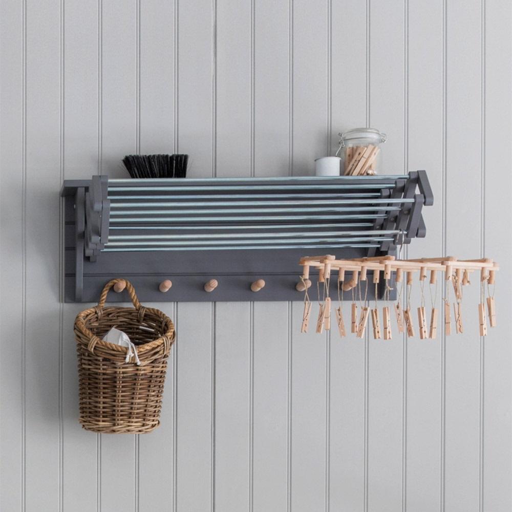 Garden trading extending clothes dryer in charcoal for Etendoir mural interieur